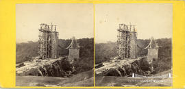 Stereoview of the construction of Clifton Suspension Bridge showing scaffolding and falsework for...