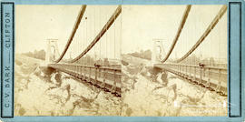 Stereoview of Clifton Suspension Bridge looking over railing