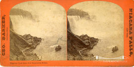 Stereoview of Niagara falls taken from the new suspension bridge
