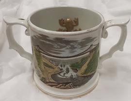 Victorian frog mug with transfer image of the Clifton Suspension Bridge