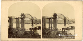 Stereoview of the Royal Albert Bridge, Saltash taken from the North East showing scaffolding on t...