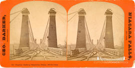 Stereoview of the railway suspension bridge at Niagara Falls