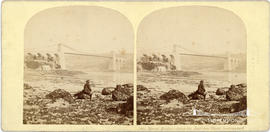 Stereoview of the Menai Suspension Bridge taken from the Anglesey Shore looking East