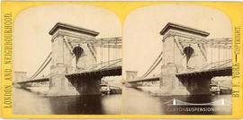 London and Neighbourhood stereoview of the Hammersmith Bridge designed by William Tierney Clark