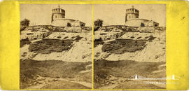 Stereoview showing figure on rocks below Clifton Observatory