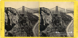 Clifton Illustrated stereoview of Clifton Suspension Bridge from St Vincent's Rocks