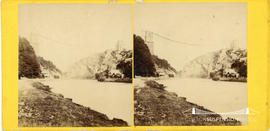 Stereoview of Clifton Suspension Bridge under construction