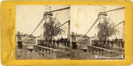 Stereoview of the Schuylkill River suspension bridge, Philadelphia, USA, also known as the Fairmo...