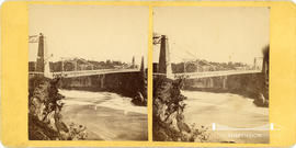 Stereoview of wire suspension bridge at St. John, New Brunswick, Canada