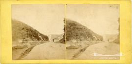 Stereoview of the River Avon showing sailing boat and figure standing on the Portway