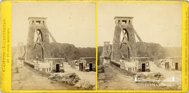 Clifton Illustrated stereoview of Clifton Suspension Bridge showing the Clifton toll houses and s...
