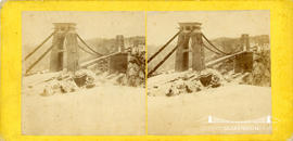 Stereoview of the Clifton Suspension Bridge in the snow showing scaffolding for tops of towers
