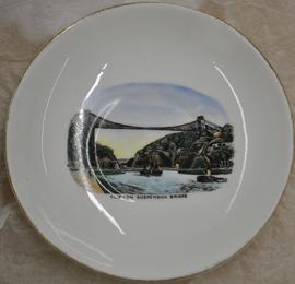 Gold-rimmed Royal Stafford saucer with transfer print coloured image of Clifton Suspension Bridge