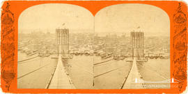 Stereoview of Brooklyn Bridge under construction