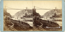 Stereoview of the Avon Gorge showing Clifton Suspension Bridge