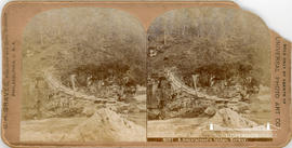 Stereoview of a mountaineer's bridge in Norway