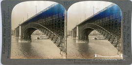 Keystone View Company stereoview of Eads Bridge over the Mississippi at St Louis