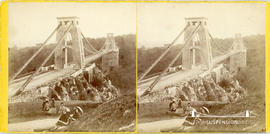 Stereoview of the Clifton Suspension Bridge with women and children on the Clifton Downs