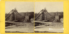 Stereoview of the Clifton Suspension Bridge under construction