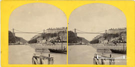 Stereoview of Clifton Suspension Bridge from the Cumberland Basin