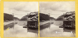 Stereoview of the Avon Gorge showing the deck of the Clifton Suspension Bridge under construction
