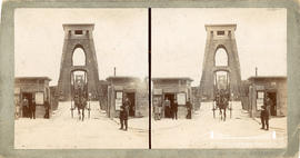Stereoview of Clifton Suspension Bridge showing horse and cart passing through the Clifton toll h...
