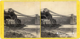 North Wales Illustrated stereoview of the Menai Suspension Bridge taken from the beach