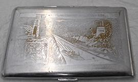 Cigarette case engraved with an image of Clifton Suspension Bridge and Bristol's coat of arms