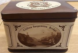 Commemorative tin made for the World Wine Fair & Festival 1978 showing the Clifton Suspension...