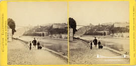 Clifton Illustrated stereoview showing a family waiting for ferry next to New Inn with Suspension...