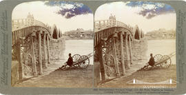 Stereoview of five-arch bridge over the Nishi Kigawa at Iwakuni