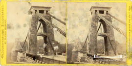 Gloucestershire Illustrated stereoview of Clifton Suspension Bridge taken from Clifton side with ...