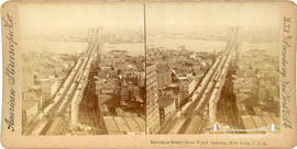 Stereoview of Brooklyn Bridge taken from the World Building, New York
