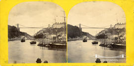 Stereoview of Clifton Suspension Bridge taken from the Cumberland Basin