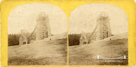 Stereoview of the Clifton Suspension Bridge under construction taken from the Clifton side
