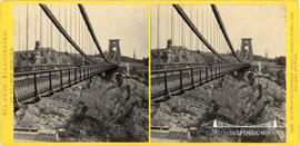 Clifton Illustrated stereoview of Clifton Suspension Bridge showing observatory and the Port to P...