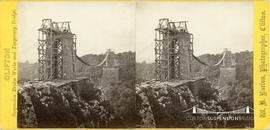"Stereoview entitled ""Suspension Bridge Works and Temporary Bridge"""