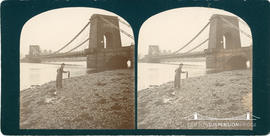 Stereoview of suspension bridge at Montrose showing a man holding seaweed on the riverbank