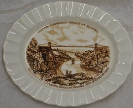Solian Ware oval flared edged plate with brown print of Clifton Suspension Bridge