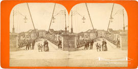 Stereoview of the Zähringen Suspension Bridge, Fribourg, Switzerland