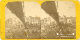 Stereoview of the suspension bridge at Fribourg, Switzerland