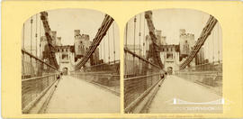 Stereoview of the suspension bridge at Conway