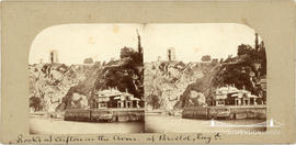Stereoview showing the tower of Clifton Suspension Bridge and Hotwells Spa