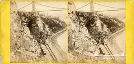 Stereoview of Clifton Suspension Bridge showing giant's cave and Port to Pier Railway by St Vince...