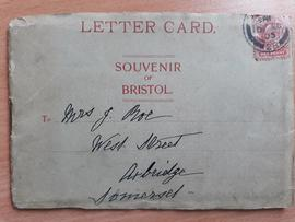 Letter card entitled 'Souvenir of Bristol'