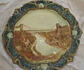 Decorative plate with an relief image of Clifton Suspension Bridge
