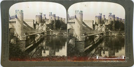 "The ""Perfec"" Stereograph of Conway Castle and suspension bridge"
