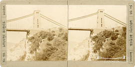 Stereoview of Clifton Suspension Bridge showing Clifton abutment and tower