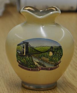 Pale yellow gold lipped vase with coloured print of Clifton Suspension Bridge
