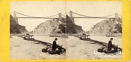 Stereoview of Clifton Suspension Bridge showing a gentleman and workers waiting for the Rownham F...